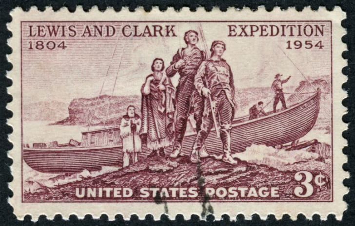 A postage stamp honoring explorers Meriwether Lewis and William Clark is pictured
