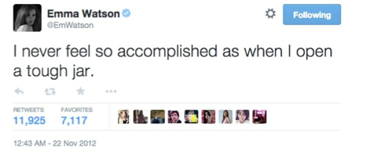An Emma Watson tweet reads: 'I never feel so accomplished as when I open a tough jar.'