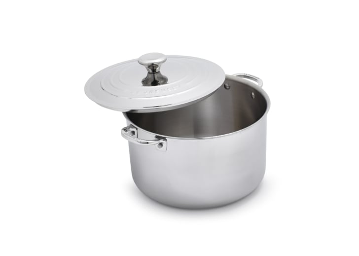 A stainless steel stockpot