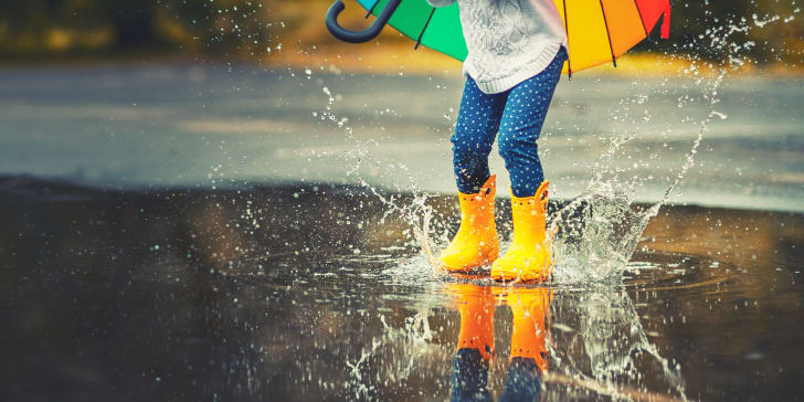 child wearing wellington rain boots