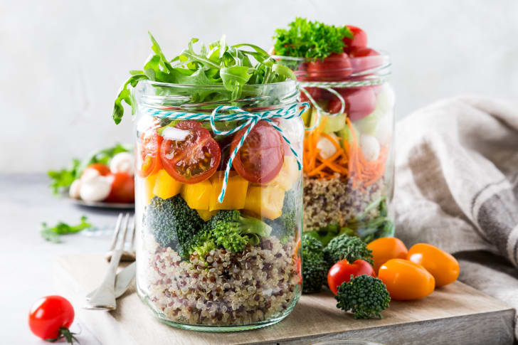 Salad in glass jars