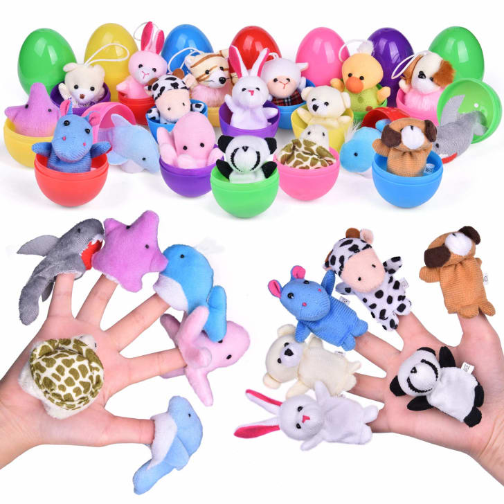 An assortment of plush animal finger puppets
