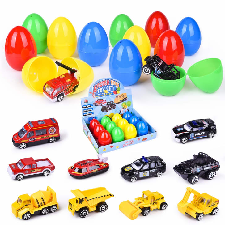 Diecast toy cars with colorful plastic Easter eggs
