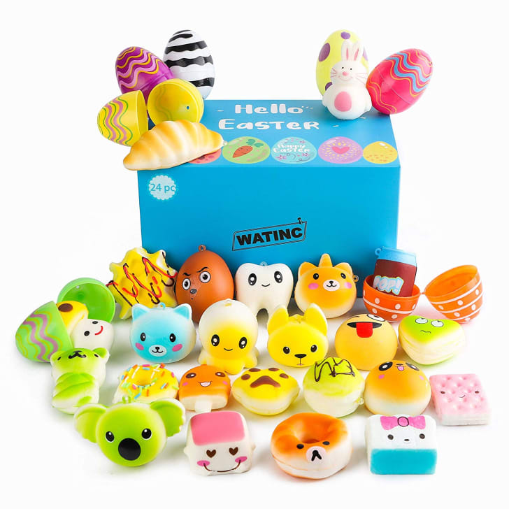 A selection of Easter eggs stuffed with plush toys