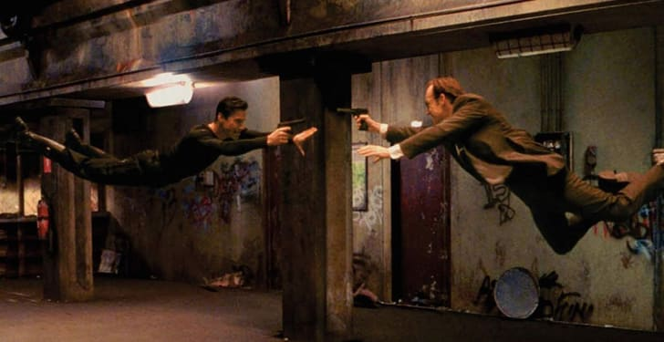 Keanu Reeves and Hugo Weaving in The Matrix (1999)