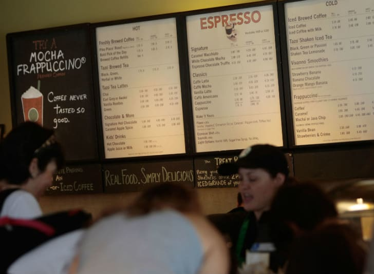 A Starbucks store menu is pictured