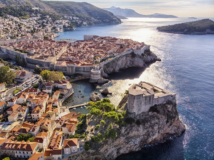 An aerial view of Old Town Dubrovnik, Croatia