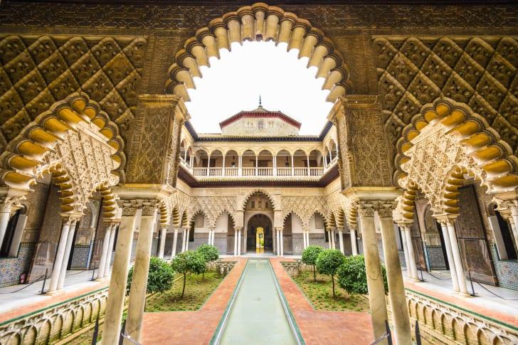 An interior courtyard within the Alcazar of Seville