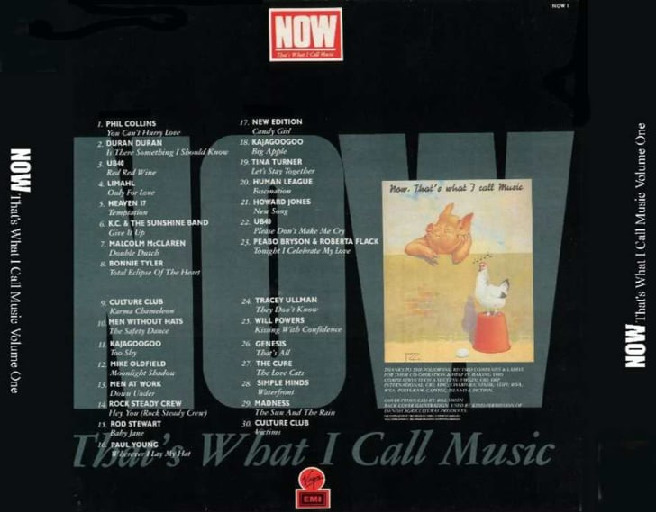 The back cover of the first Now That's What I Call Music! album, which included a picture of the vintage poster that inspired its name.