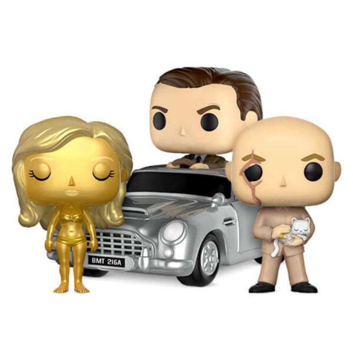 A number of Funko Pop! figures based on the James Bond franchise are pictured