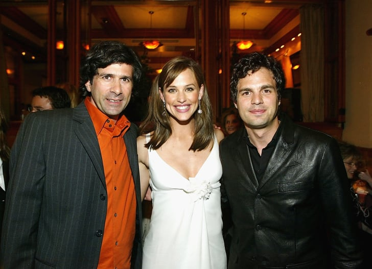 Director Gary Winick actress Jennifer Garner (C) and actor Mark Ruffalo talk at the after party for the film '13 going on 30' following the premiere of the film April 14, 2004 in Westwood, California