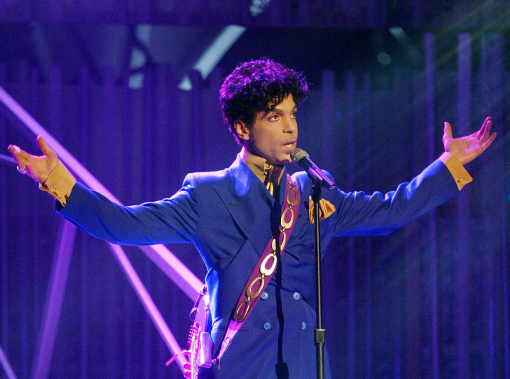 Grammy and Oscar-winning recording artist Prince performs the song 'Purple Rain' at the 46th Annual Grammy Awards held at the Staples Center on February 8, 2004 in Los Angeles, California