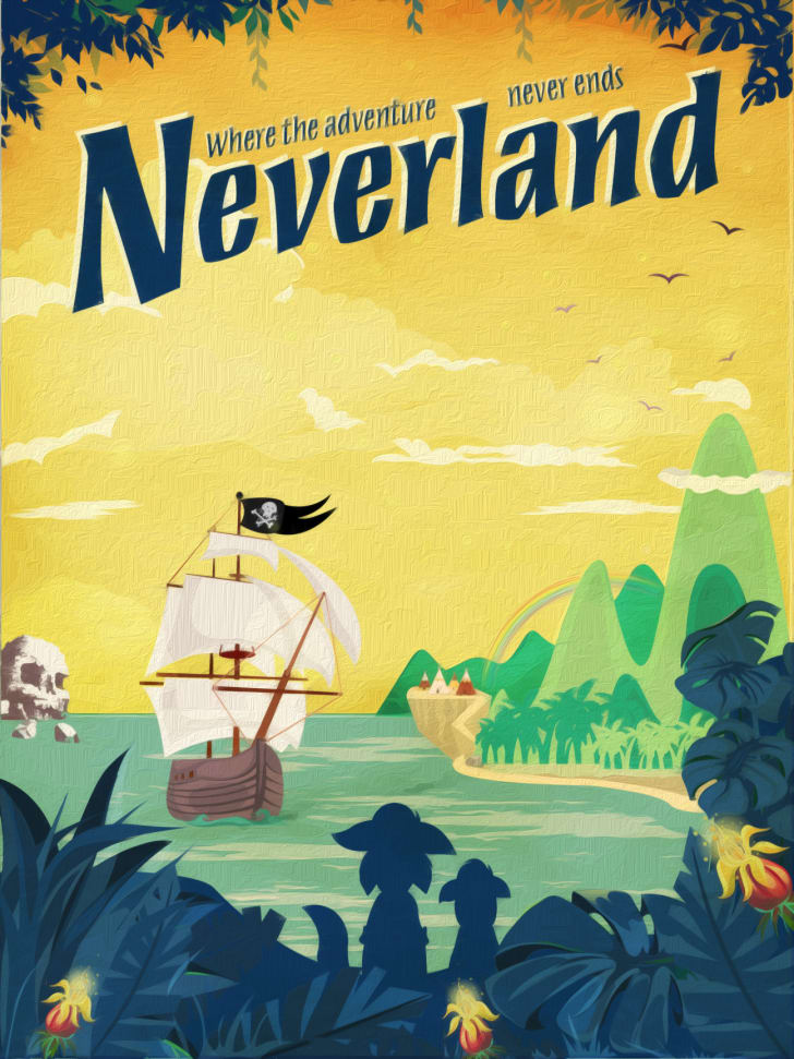 A Neverland travel poster
