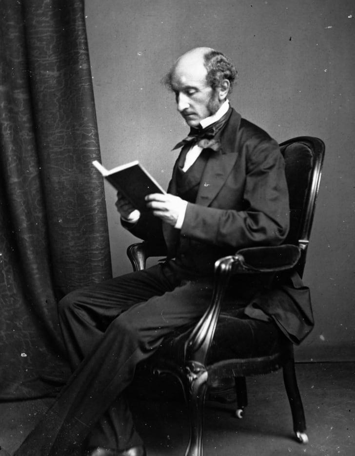 Philosopher John Stuart Mill, circa 1858.