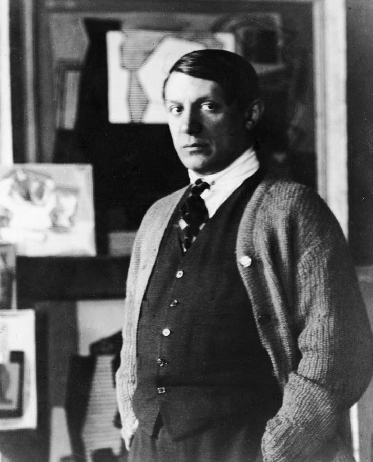Spanish painter Pablo Picasso in his studio, circa the 1920s.