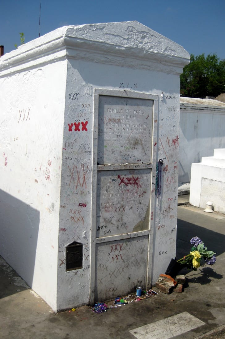The reputed tomb of Marie Laveau at St. Louis Cemetery, marked with Xs