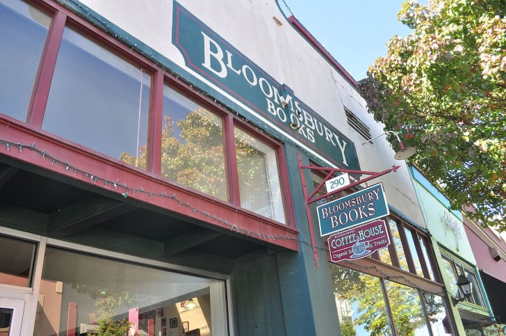 The sign above Bloomsbury Books in Ashland, Oregon