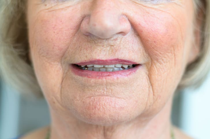 An older woman's chin