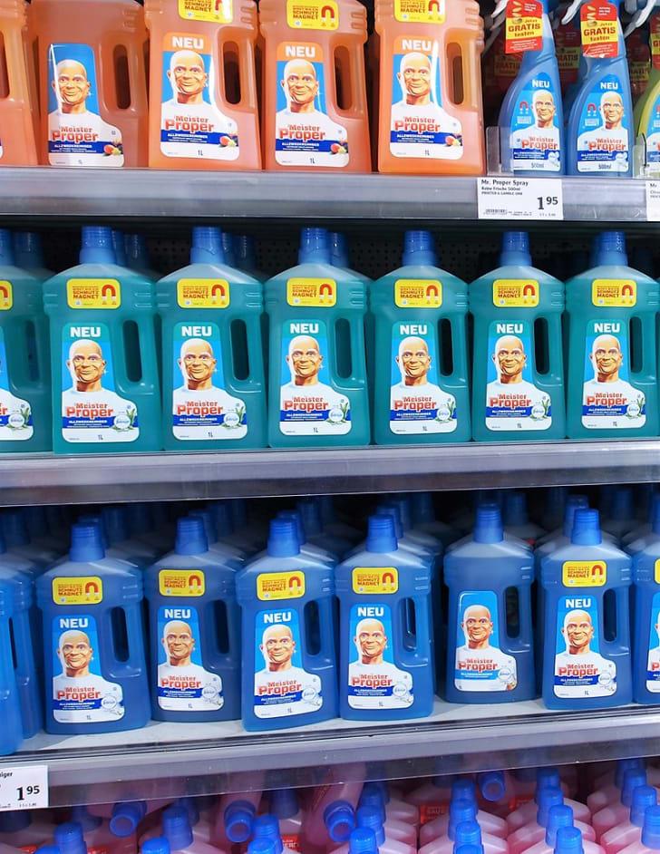 Bottles of Meister Proper on store shelves