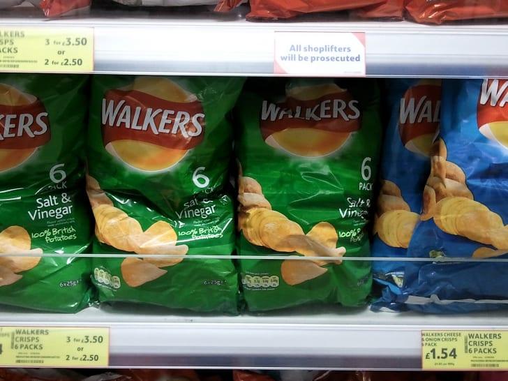 Walkers potato chips on a shelf