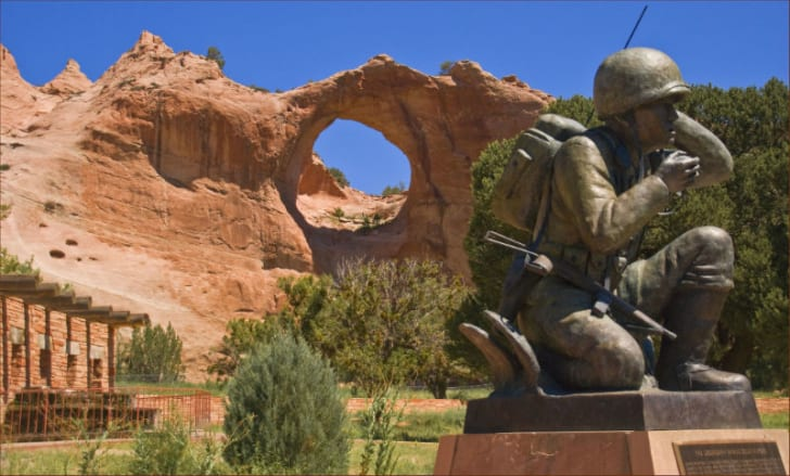 A sculpture of a Navajo Code Talker stands at the Navajo Code Talkers Memorial in Window Rock, Arizona
