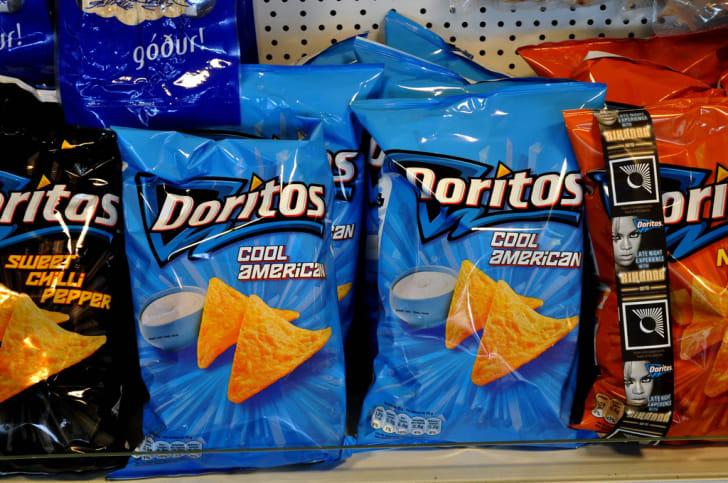 Cool American Doritos on a shelf