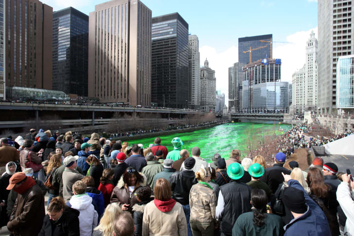 Green Chicago River on St. Patrick's Day