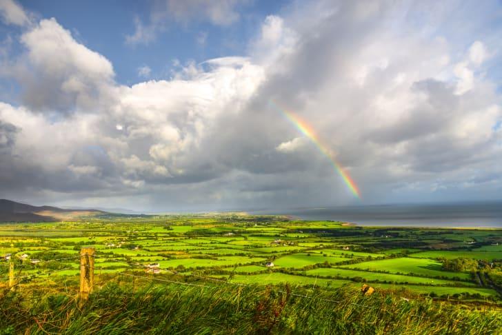 A rainbow over the Irish countryside