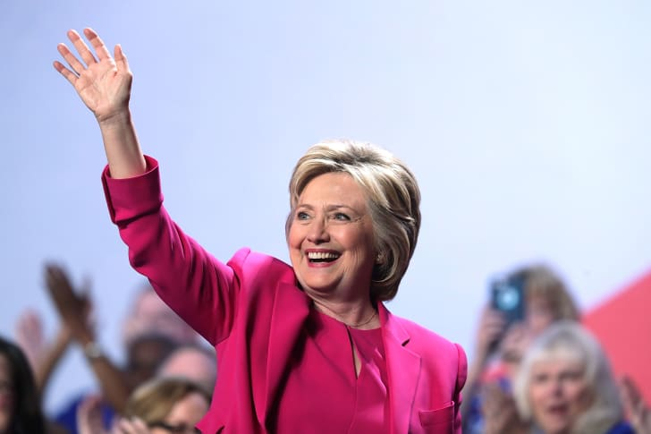 Hilary Clinton waving.