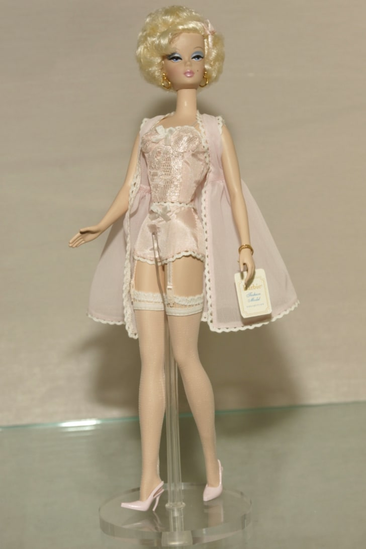 A vintage Barbie wearing lingerie