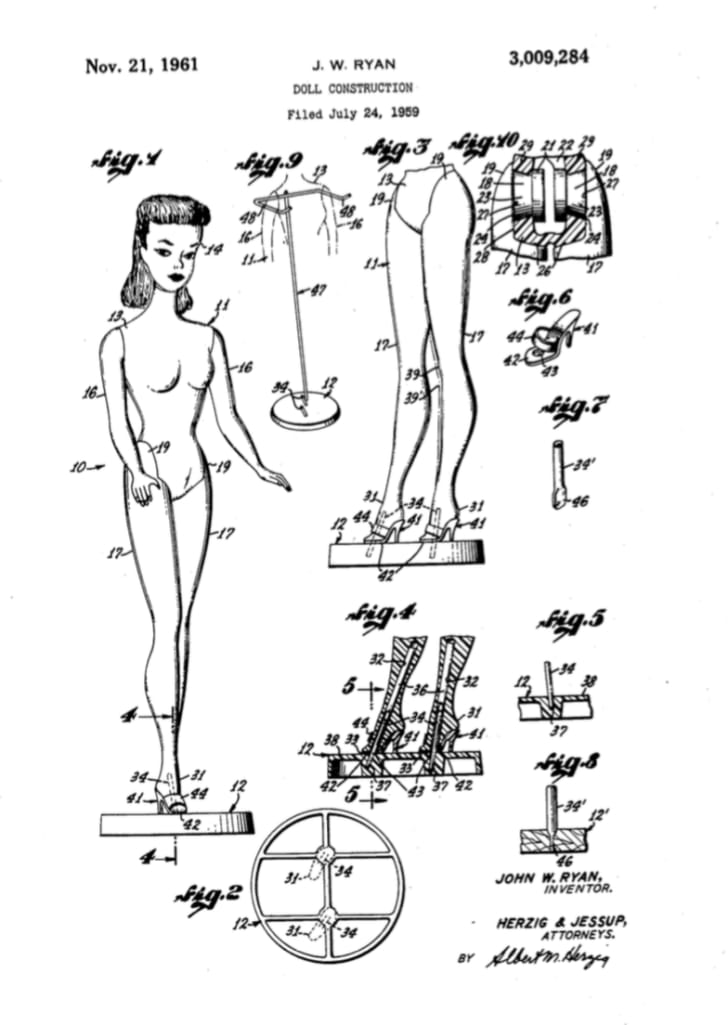 A 1961 patent for Barbie.