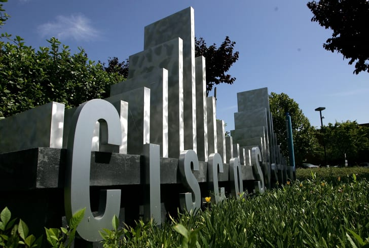 The Cisco Systems logo in front of the company's headquarters in San Jose, California