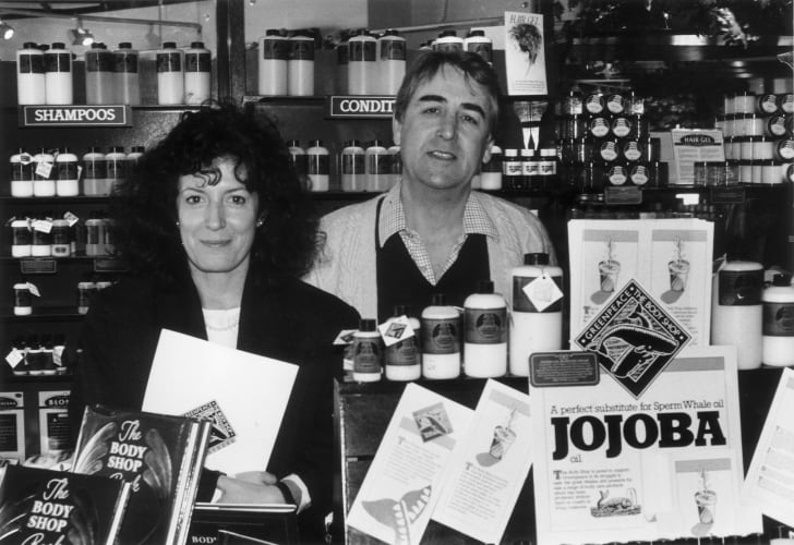 Anita Roddick of the Body Shop in one of her stores in 1986