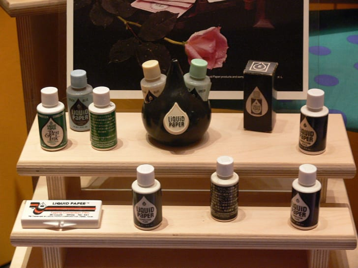 Liquid Paper products on display at the Women's Museum