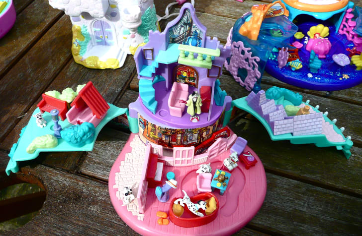 Open Polly Pocket sets on a table