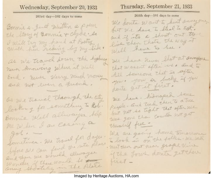 A look inside a notebook containing the poetry of outlaw Clyde Barrow