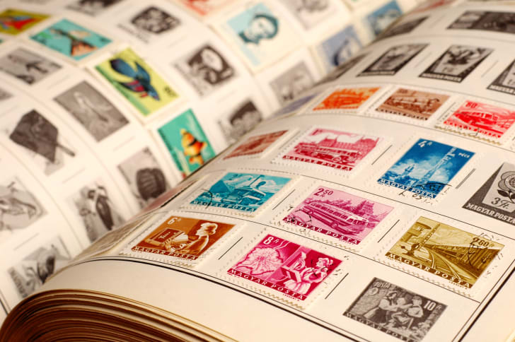 Postage stamps in a collector's book