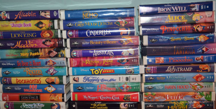 Stacks of Disney VHS tapes