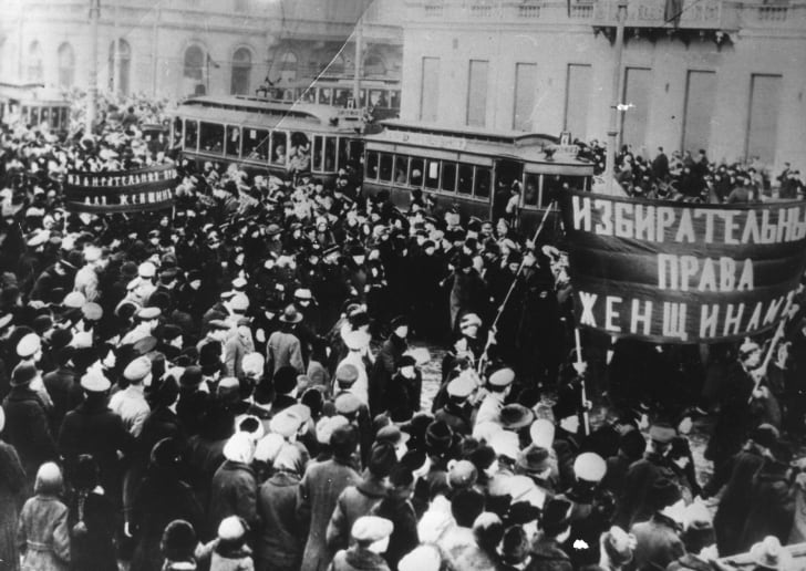 Women marching during the Russian Revolution in 1917, demanding the right to vote.