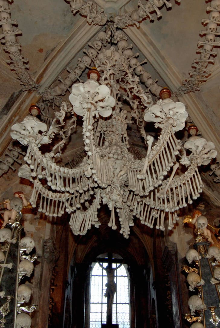 A Baroque period bone chandelier in the Sedlec Ossuary