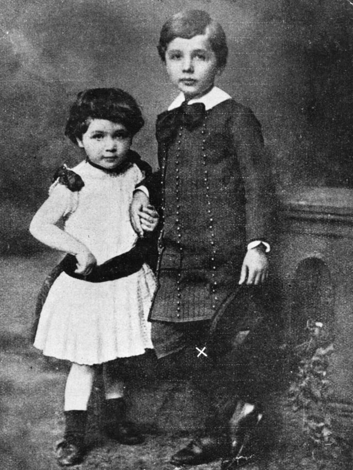 A portrait of a young Albert Einstein with his sister.