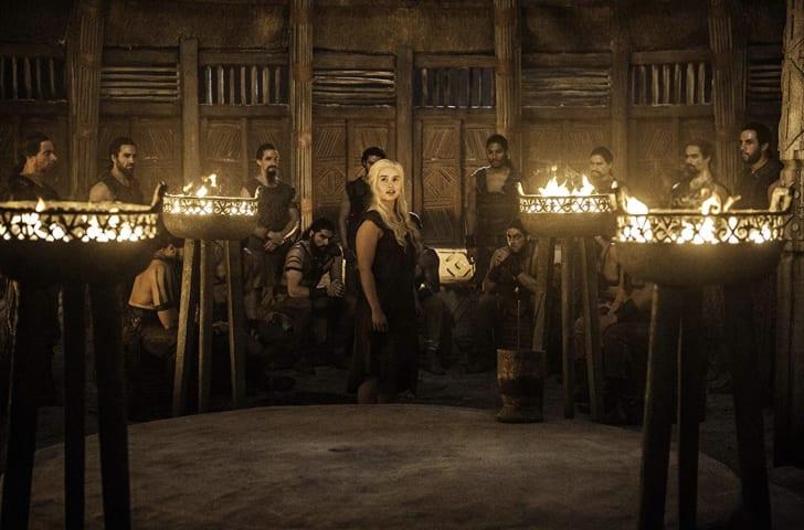 Joseph Naufahu, Tamer Hassan, Emilia Clarke, Elie Haddad, Darius Dar Khan, and Diogo Sales in Game of Thrones