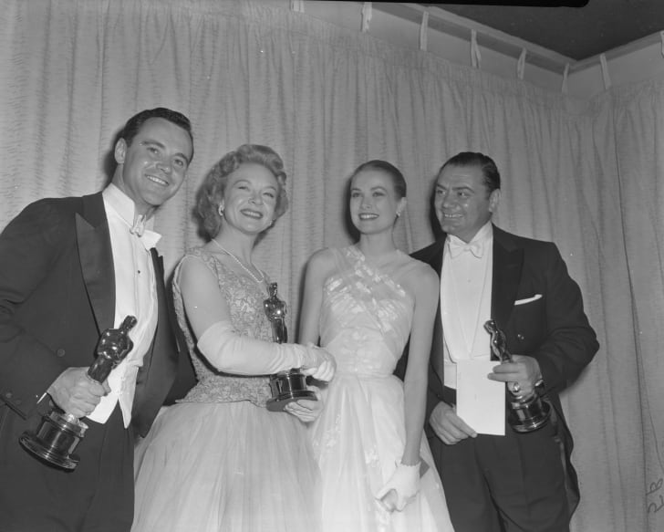 From left: Jack Lemmon (Best Supporting Actor winner for Mister Roberts), Jo Van Fleet (Best Supporting Actress winner for East of Eden), presenter Grace Kelly and Ernest Borgnine (Best Actor winner for Marty) pose with their Oscars, 1956.