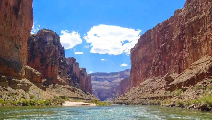 A view of the Colorado River at the bottom of the Grand Canyon
