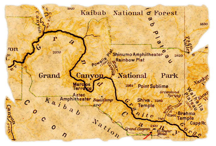 A vintage map of Grand Canyon National Park