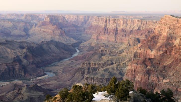 The Colorado River snakes through the Grand Canyon.