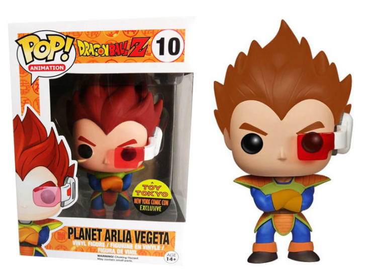 A Funko Pop! of Planet Arlia Vegeta from 'Dragon Ball Z' is pictured