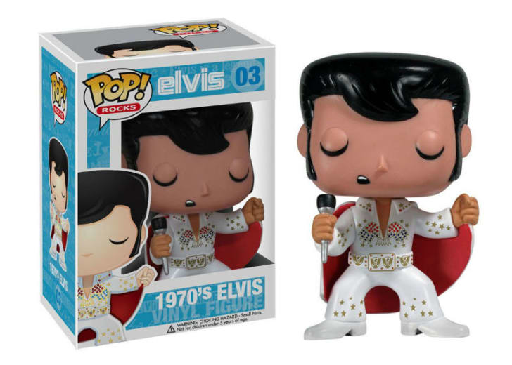 A Funko Pop! of 1970s Elvis Presley is pictured