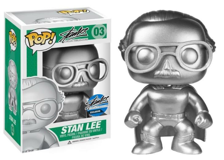 A Funko Pop! Platinum Metallic Edition Stan Lee is pictured