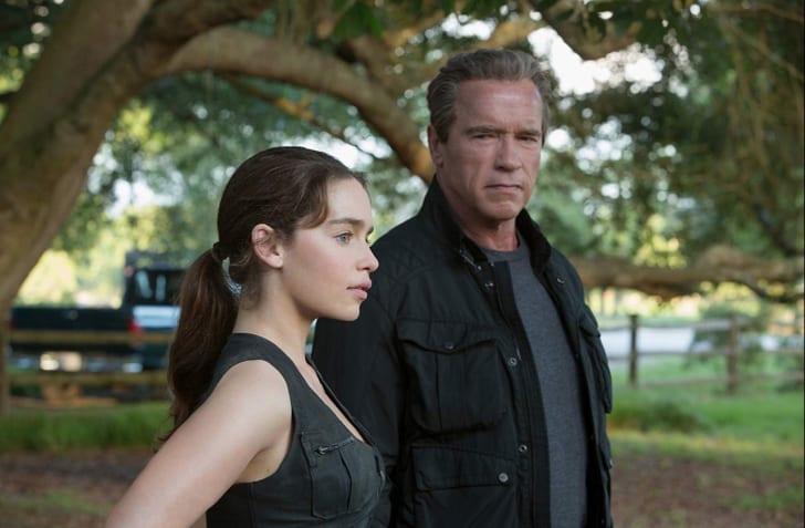 Arnold Schwarzenegger and Emilia Clarke in Terminator Genisys (2015)
